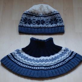 Moteriška kepurė ir kaklas - šalikas, 80% vilna, 20% akrilanas